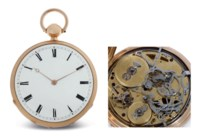 LOUIS AUDEMARS. A FINE, LARGE AND VERY UNUSUAL 18K PINK GOLD OPENFACE TWO TRAIN QUARTER HOUR AND STRIKING MUSICAL CLOCKWATCH