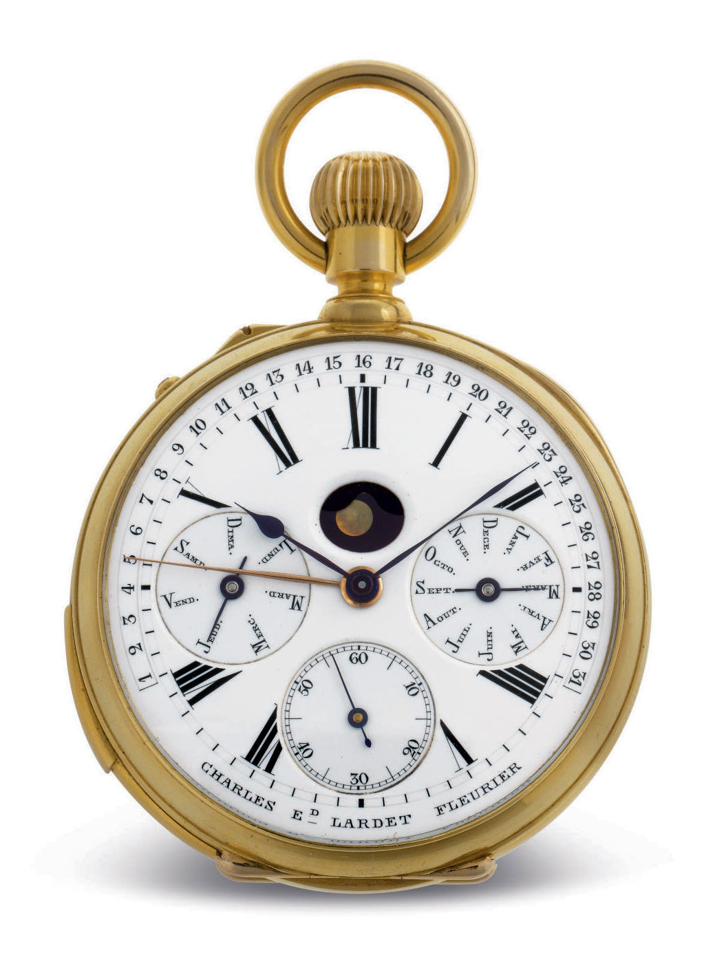 MARIUS LECOULTRE, MADE FOR CHARLES ED. LARDET. A VERY FINE AND UNUSUAL 18K GOLD OPENFACE MINUTE REPEATING PERPETUAL CALENDAR KEYLESS LEVER WATCH WITH PHASES OF THE MOON AND RETROGRADE DATE INDICATION