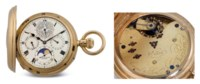 SAMUEL & SON. A HIGHLY UNUSUAL AND RARE 18K GOLD HALF-HUNTER CASE MINUTE REPEATING GRANDE AND PETITE SONNERIE PERPETUAL CALENDAR KEYLESS LEVER CLOCK WATCH WITH MOON PHASES