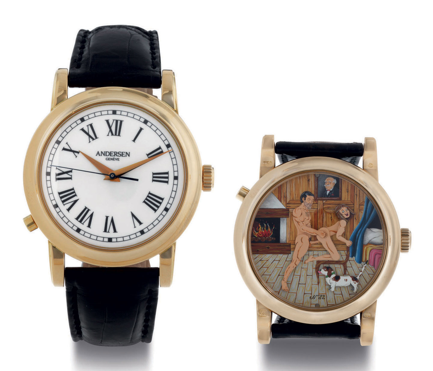 SVEND ANDERSEN. A FINE 18K GOLD WRISTWATCH WITH CENTER SECONDS AND CONCEALED EROTIC AUTOMATON