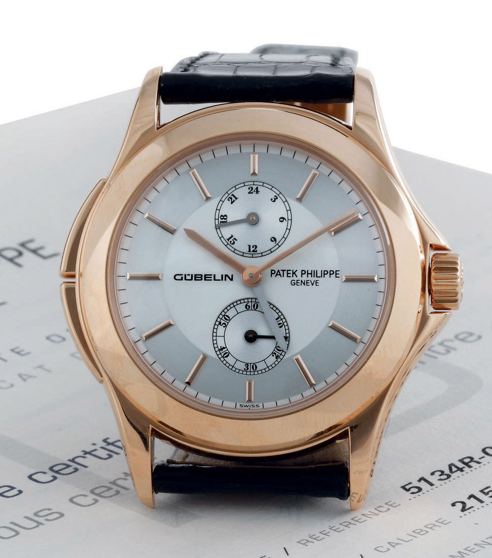 Patek philippe a fine limited edition 18k pink gold dual time wristwatch with 24 hours and for Patek philippe geneve