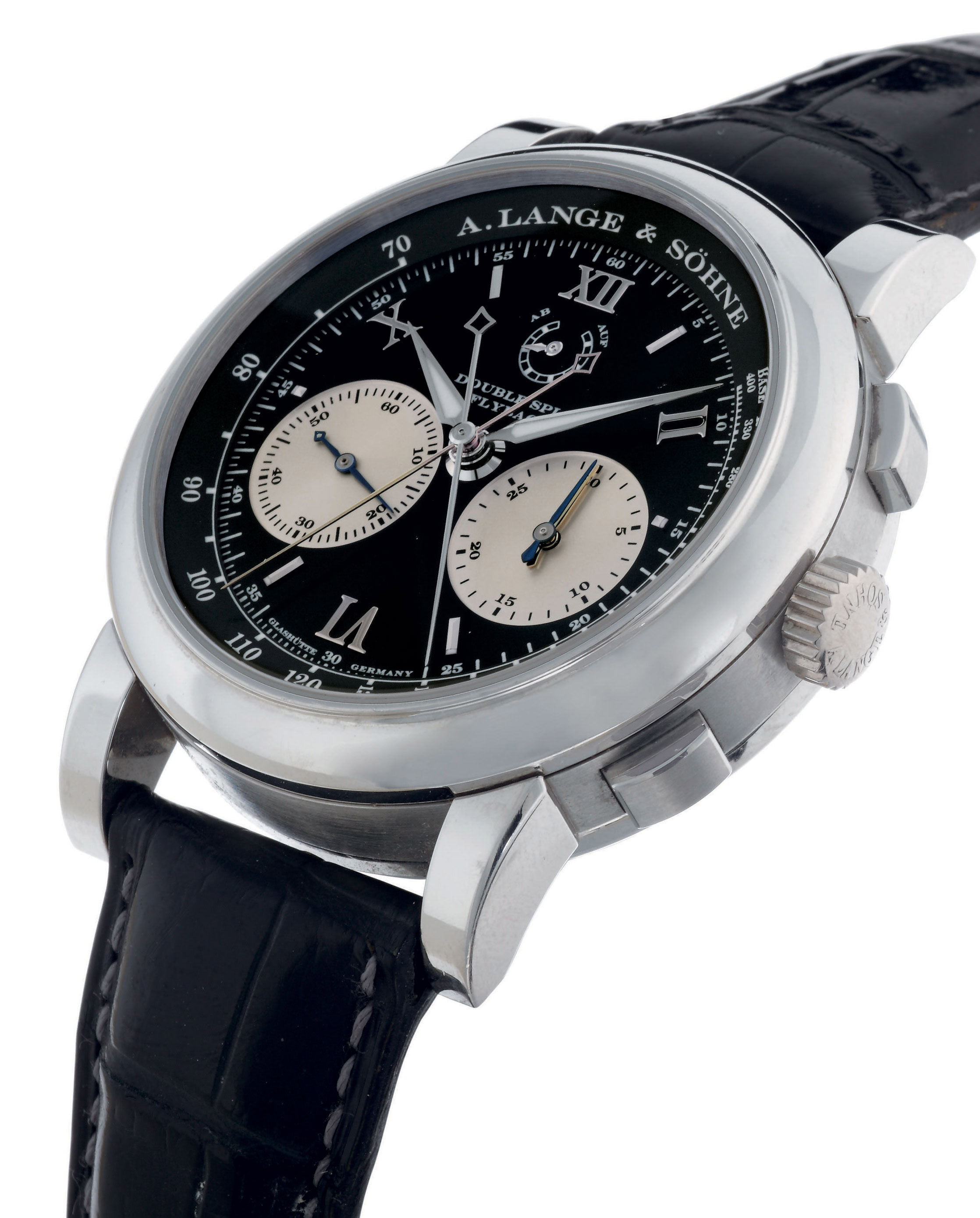 A. LANGE & SÖHNE. A VERY FINE, LARGE AND RARE PLATINUM DOUBLE SPLIT SECONDS FLYBACK CHRONOGRAPH WRISTWATCH WITH POWER RESERVE
