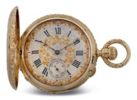 J. ASSMANN. A FINE 18K GOLD HUNTER CASE KEYLESS LEVER POCKET WATCH WITH RICHLY ENGRAVED CASE