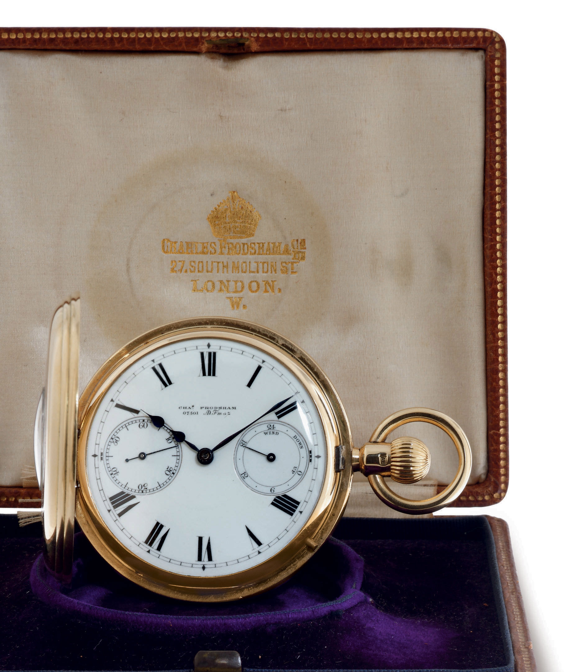 CHARLES FRODSHAM. A RARE 18K GOLD HALF HUNTER CASE POCKET CHRONOMETER WITH UP-AND-DOWN INDICATOR