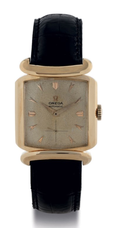 OMEGA. AN 18K GOLD SQUARE AUTO