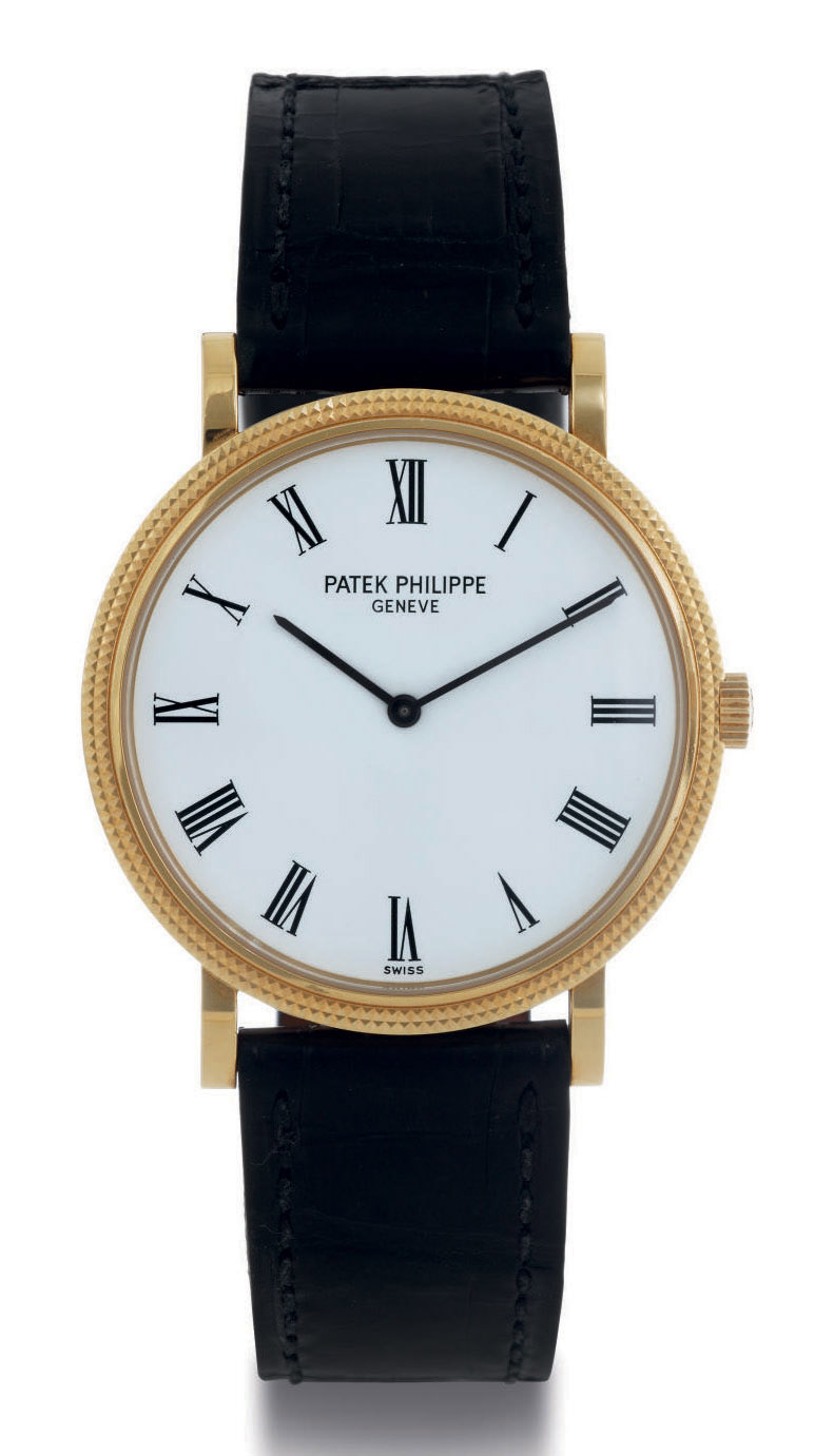 Patek philippe an 18k gold automatic wristwatch signed patek philippe geneve calatrava for Patek philippe geneve