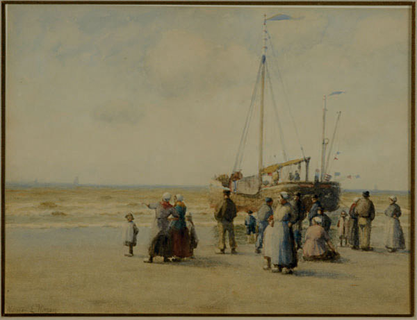 Fishermen return from a day's work; and a companion work