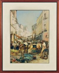 Busy market scene in Resina, Italy