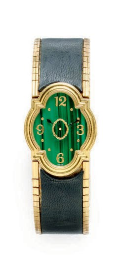 A MALACHITE, LEATHER AND 18K G