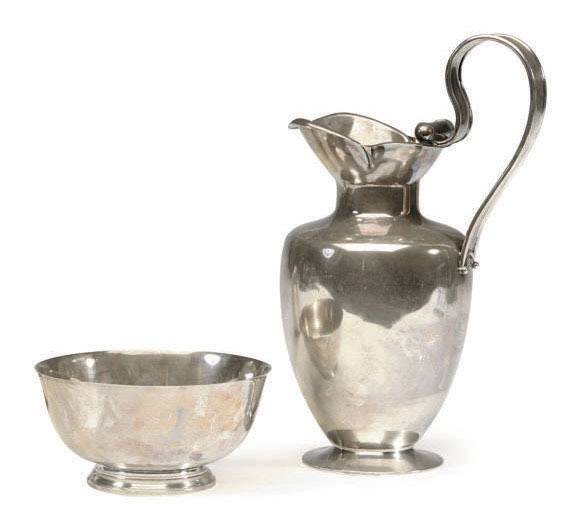AN AMERICAN SILVER FOOTED BOWL AND A CONTINENTAL SILVER WATER PITCHER,