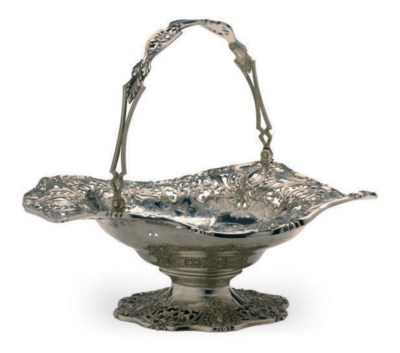 AN AMERICAN SILVER BASKET WITH