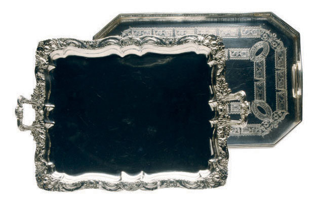 A LARGE GALLERIED SILVER-PLATE TRAY AND A TWO HANDLED SILVER-PLATE TRAY,