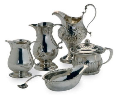 THREE GEORGIAN SILVER CREAM JU