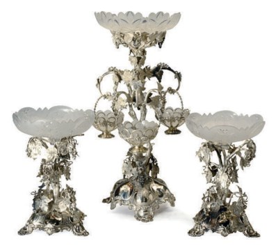AN ENGLISH SILVER-PLATED THREE