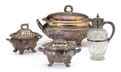 A GROUP OF SILVER-PLATED SERVI