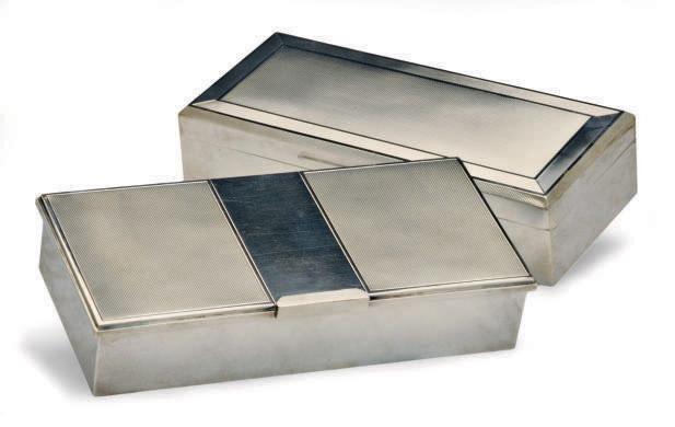 TWO ELIZABETH II SILVER CIGARETTE BOXES,