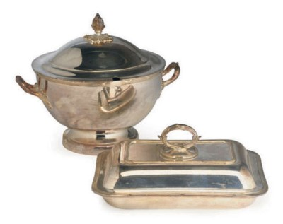 A SILVER-PLATED SOUP TUREEN AN