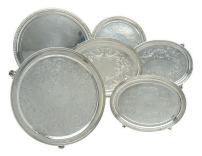 TWO AMERICAN SILVER TRAYS AND