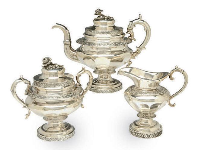 AN ASSEMBLED AMERICAN THREE PIECE TEA SERVICE,