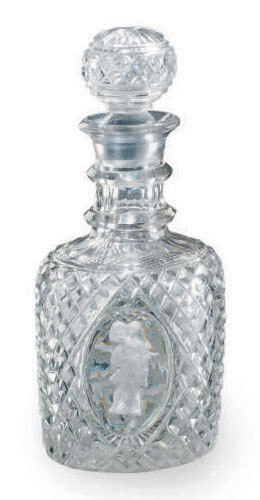 AN ENGLISH CUT-GLASS SULPHIDE DECANTER AND STOPPER,
