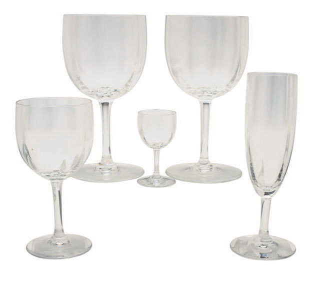 A FRENCH GLASS PART STEMWARE SERVICE,