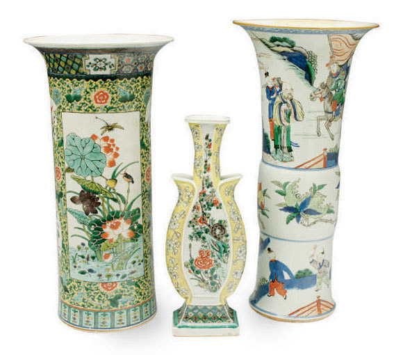 A Chinese Porcelain Wucai Beaker Vase And Two Famille Verte
