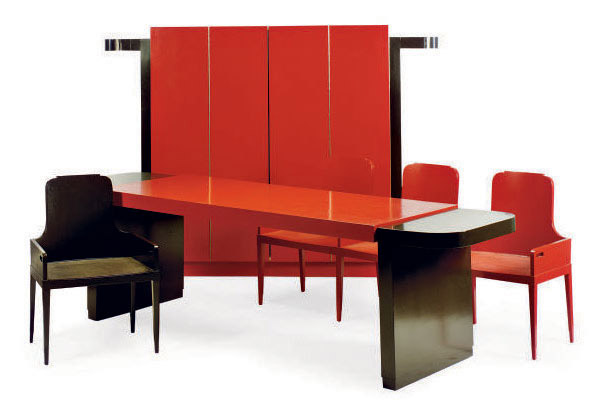 A RED AND BROWN LACQUERED WOOD DINING SUITE,