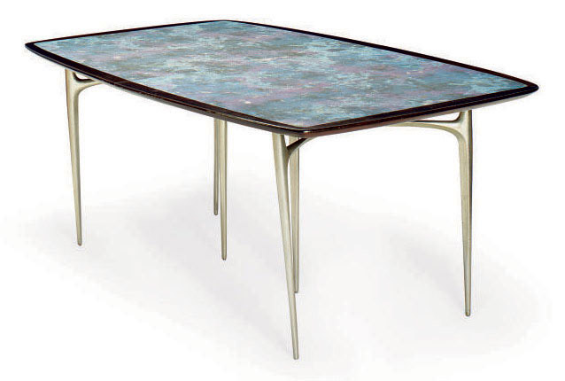 A WALNUT, HAND-PAINTED MICARTA AND CAST ALUMINUM DINING TABLE,