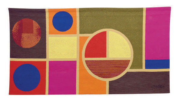A WOOL WALL HANGING ENTITLED 'LES QUATRES CERCLES',
