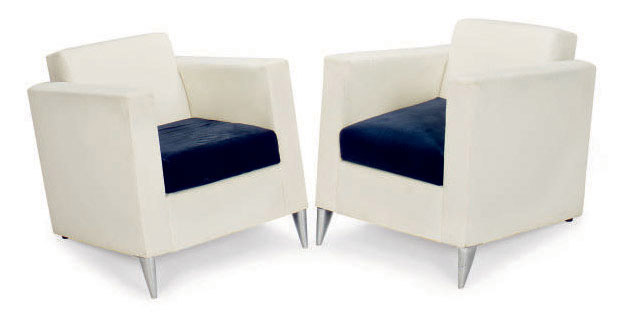 Philippe Starck Len a pair of upholstered len niggelman lounge chairs designed by