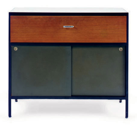 AN ENAMELED-STEEL, WALNUT AND WHITE LAMINATE-TOP SIDE CABINET,