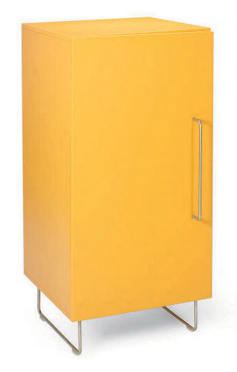 AN ITALIAN ORANGE-PAINTED AND TUBULAR-STEEL SIDE CABINET,