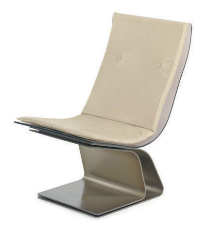 A STEEL, SAINT GOBAIN GLASS AND LEATHER LOUNGE CHAIR,