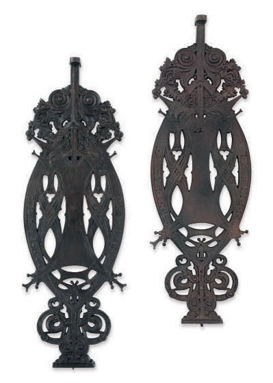 TWO CAST-IRON STAIR BALUSTERS FROM THE GUARANTY BUILDING, BUFFALO, NEW YORK,