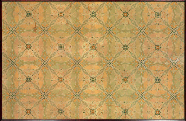 A STENCILLED OIL ON CANVAS CEILING PANEL FROM THE CHICAGO STOCK EXCHANGE,