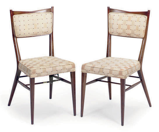 A SET OF SIX WALNUT DINING CHAIRS,