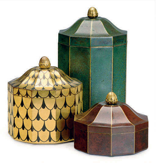 A GROUP OF THREE CHRISTOFLE DECAGONAL GILT AND DECORATED BRONZE LIDDED BOXES,