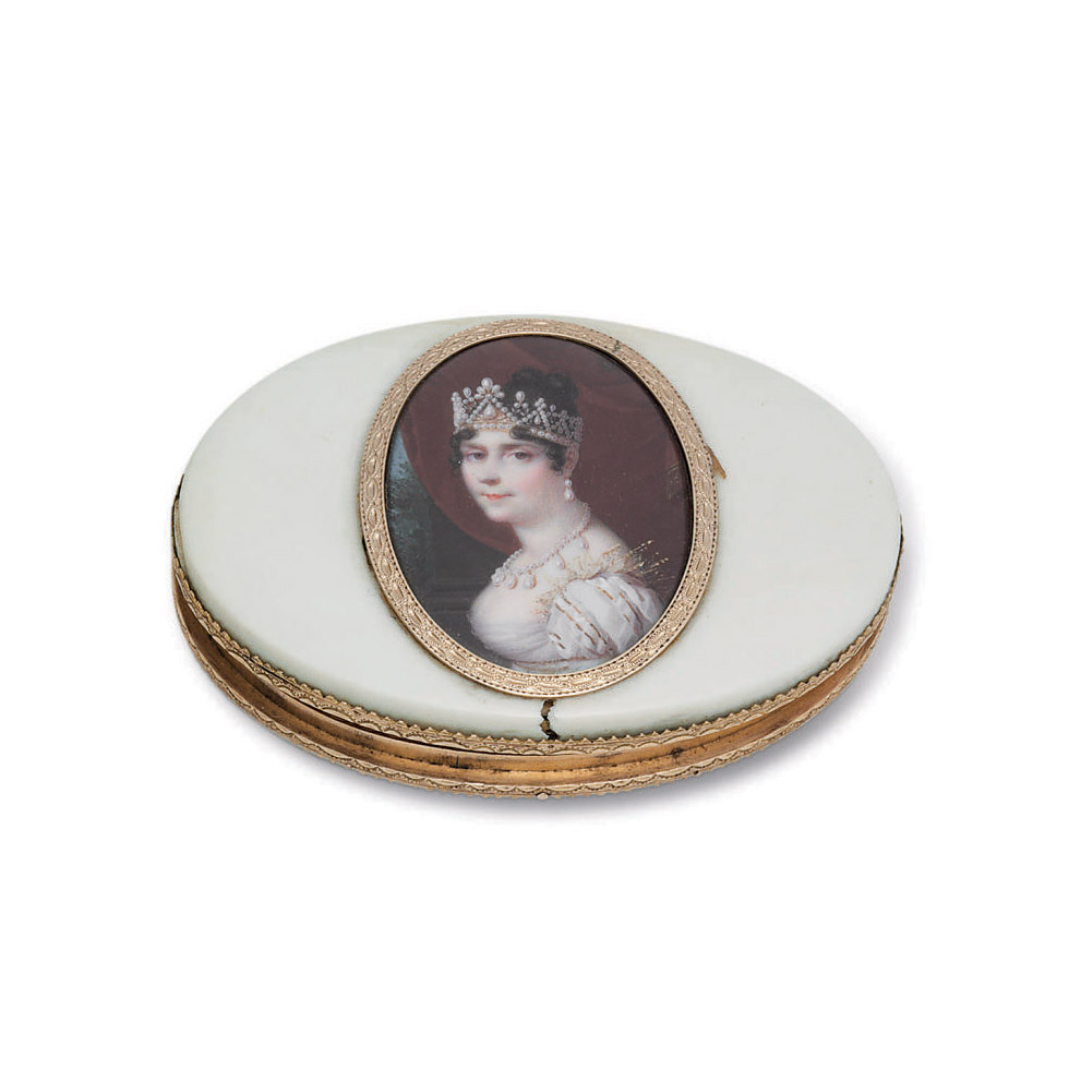 A FRENCH GOLD-MOUNTED IVORY PATCH BOX WITH PORTRAIT MINIATURE OF EMPRESS JOSEPHINE**