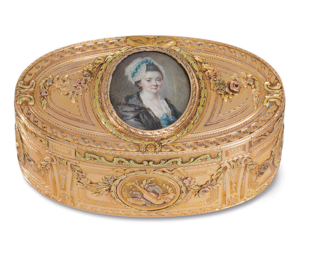A FRENCH VARI-COLORED GOLD SNUFF BOX WITH PORTRAIT MINIATURE