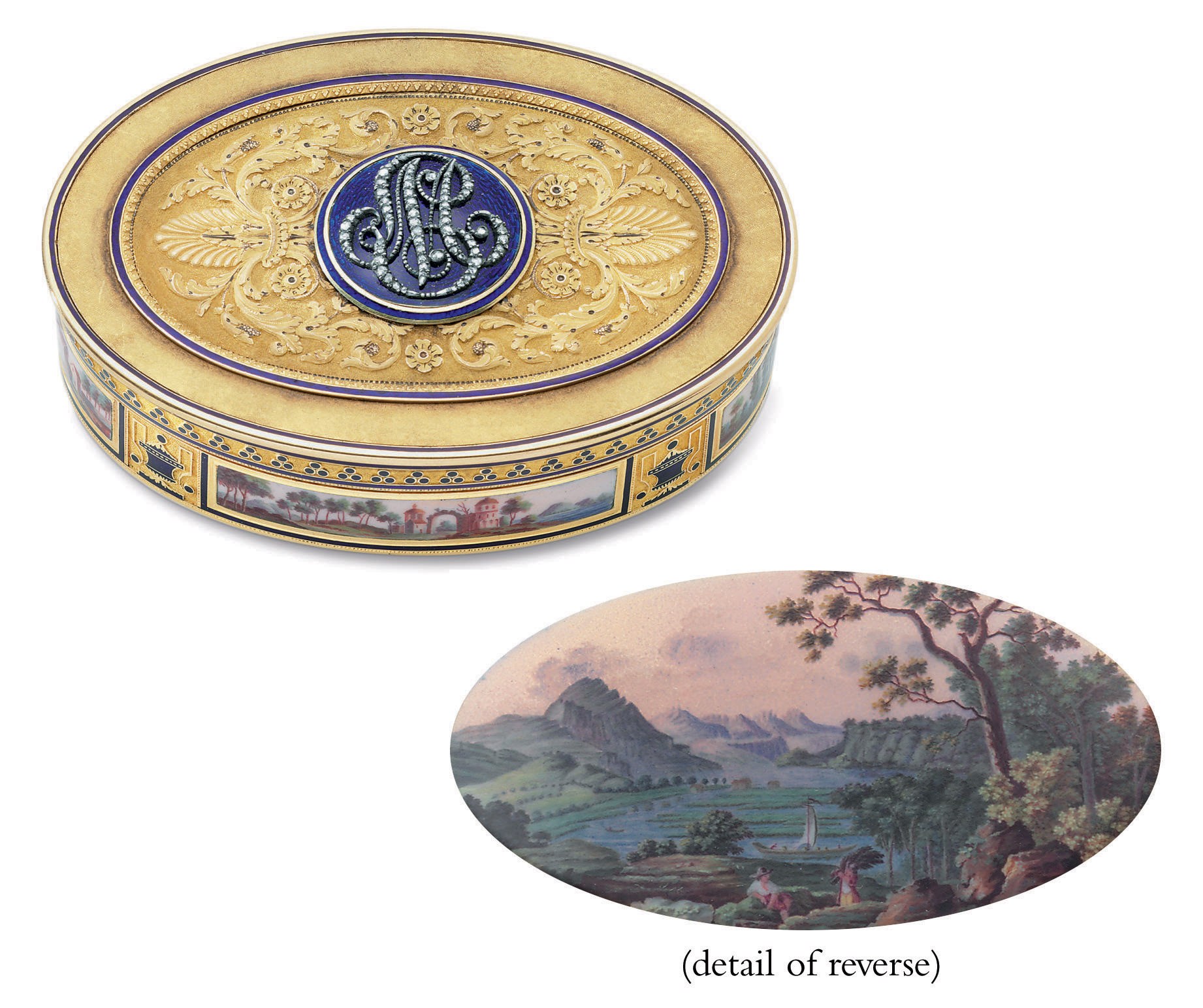 A FRENCH EMPIRE GOLD, ENAMEL AND GEM-SET PRESENTATION SNUFF BOX