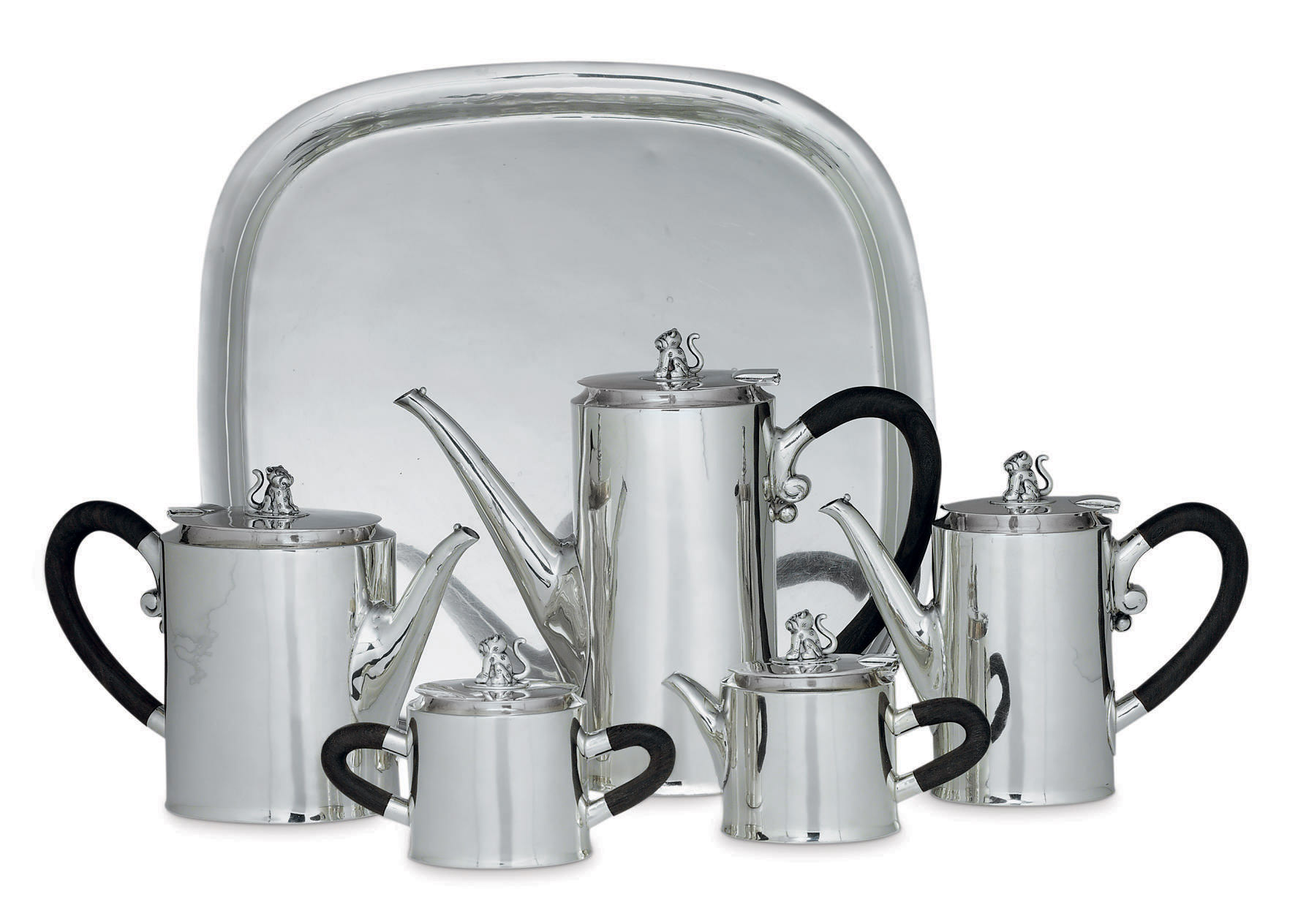 A MEXICAN SILVER FIVE-PIECE TEA AND COFFEE SERVICE WITH TRAY**