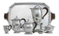 A FRENCH SILVER SIX-PIECE TEA AND COFFEE SERVICE WITH TRAY