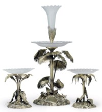 A VICTORIAN SILVER-GILT THREE-PIECE TABLE GARNITURE