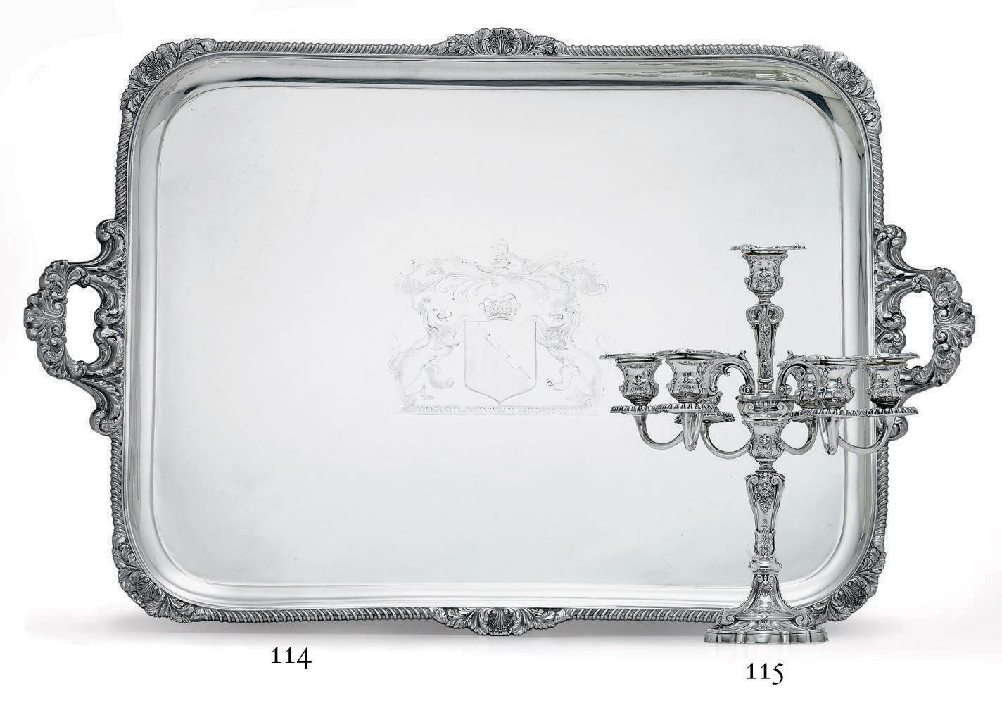 AN EDWARD VII SILVER TWO-HANDLED TEA TRAY