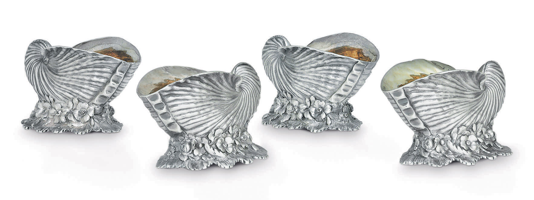 A SET OF FOUR WILLIAM IV SILVER SALT CELLARS