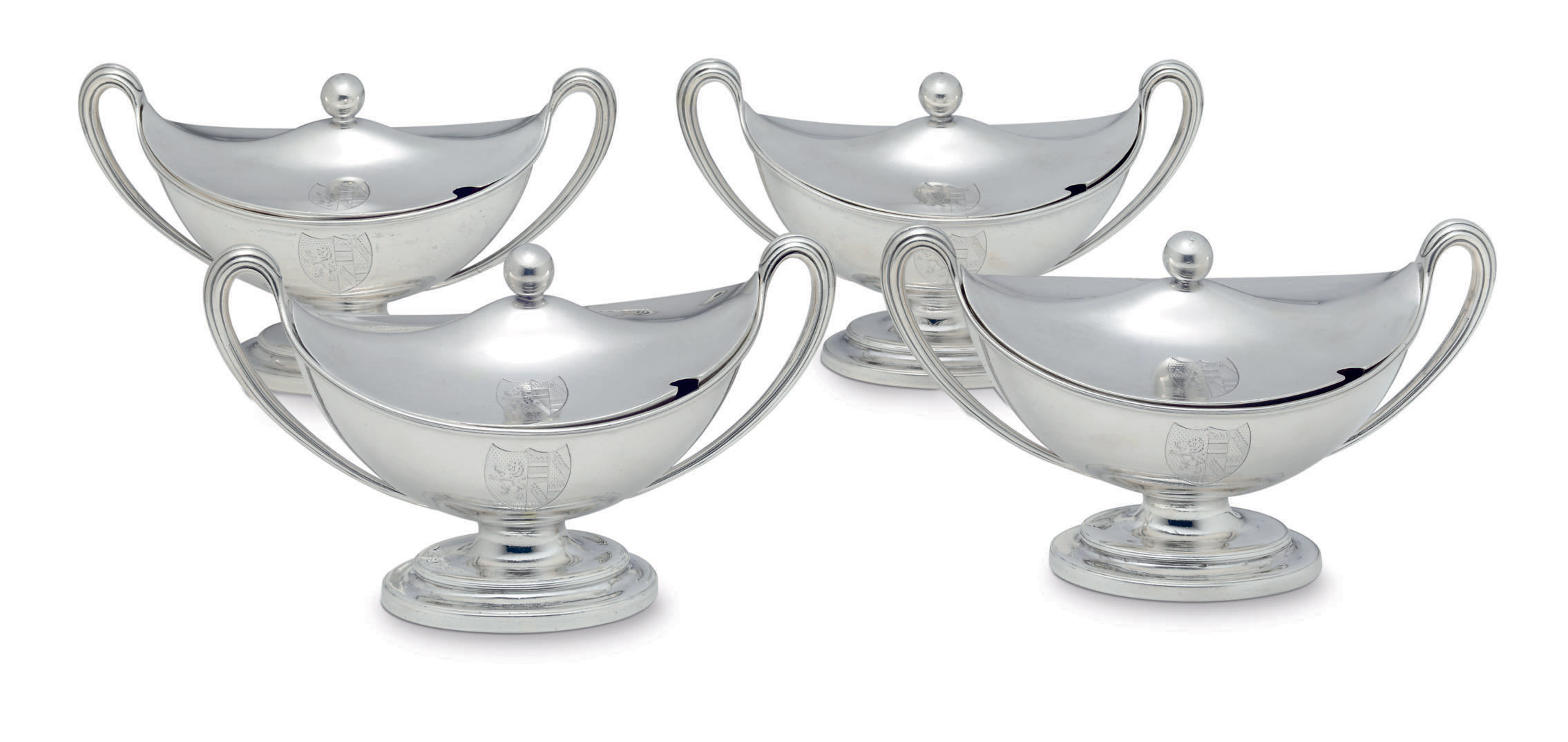A SET OF FOUR GEORGE III SILVER SAUCE TUREENS AND COVERS