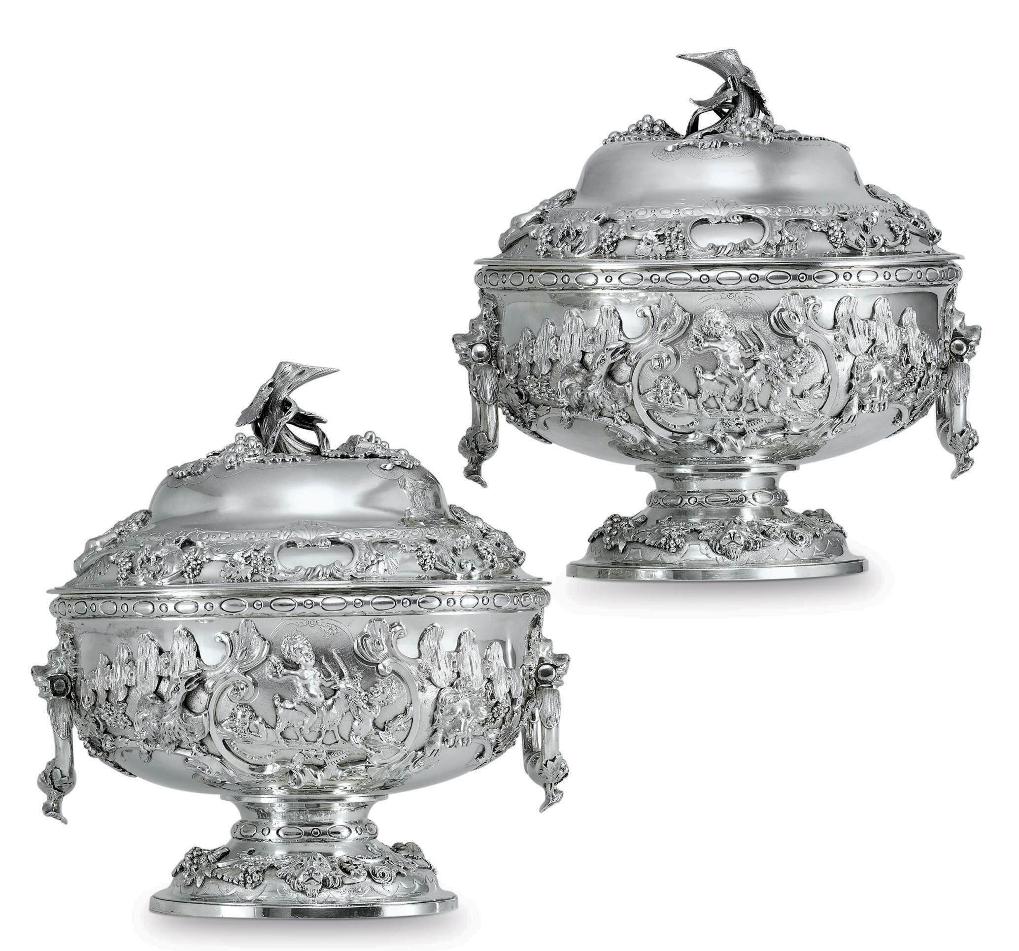 A PAIR OF REGENCY SILVER SOUP TUREENS
