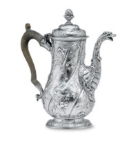 A GEORGE II IRISH SILVER COFFEE POT