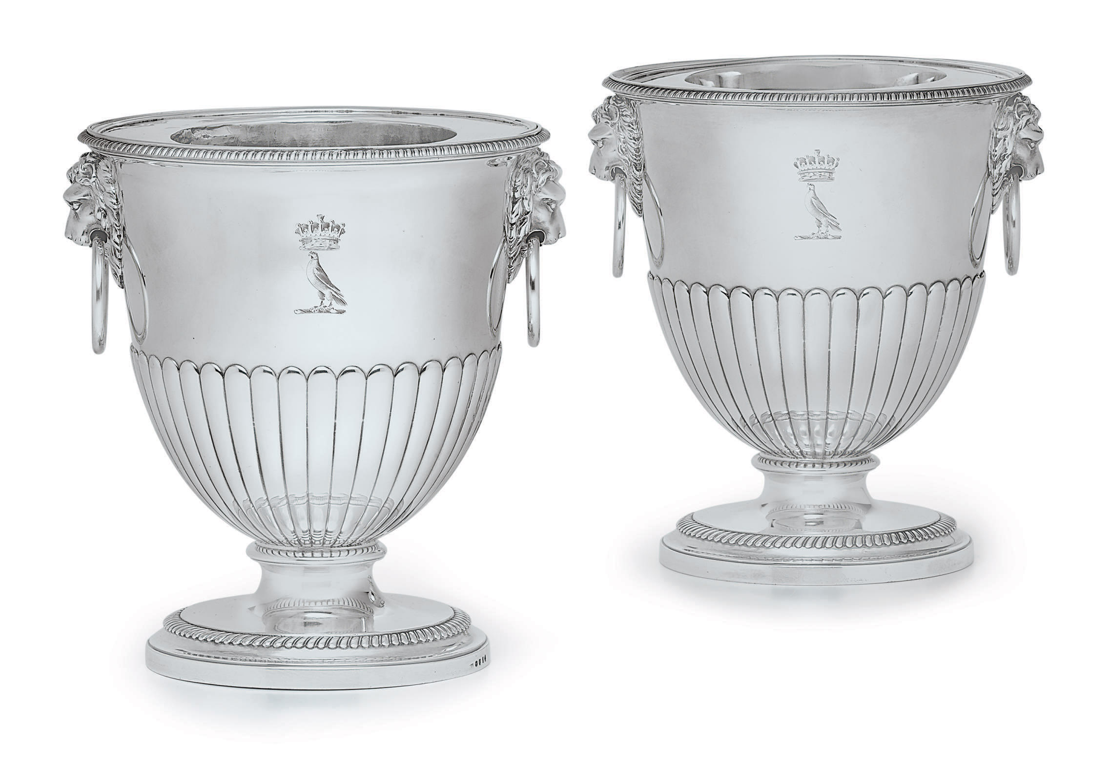 A PAIR OF GEORGE III SILVER WINE COOLERS