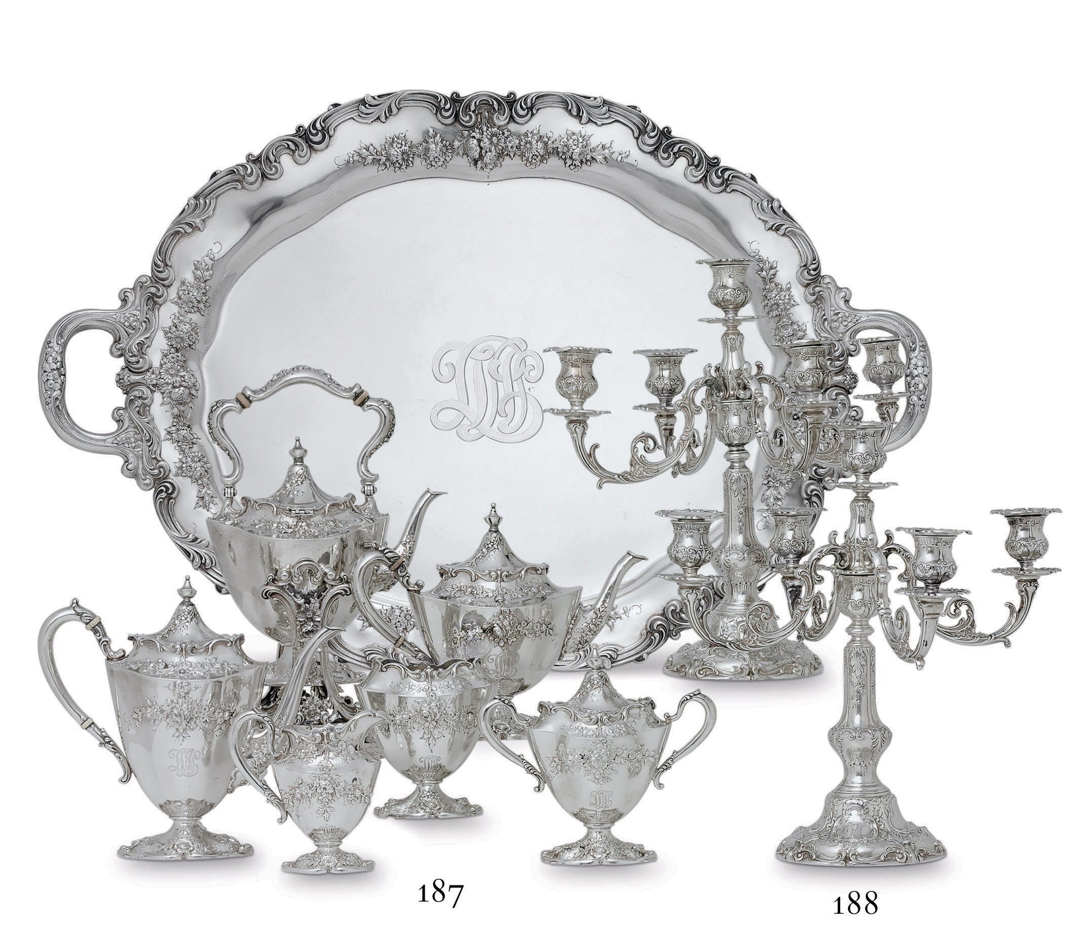 AN AMERICAN SILVER SIX-PIECE TEA AND COFFEE SERVICE WITH TRAY**